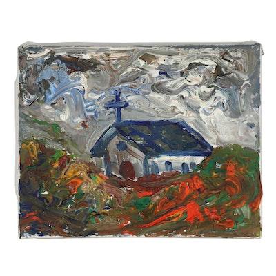 Robert Wright Folk Acrylic Painting of Church