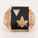 Vintage Masonic 10K Yellow Gold Black Onyx and Diamond Ring