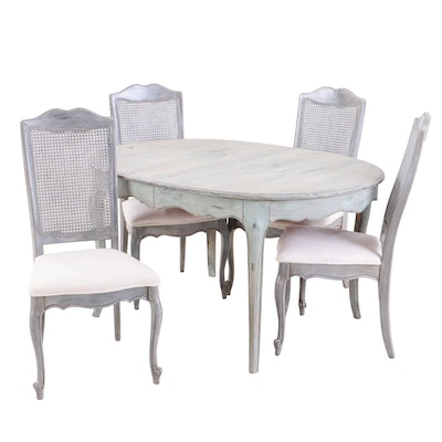 Distressed Painted Finish Wooden Dining Table and Chairs, Late 20th Century