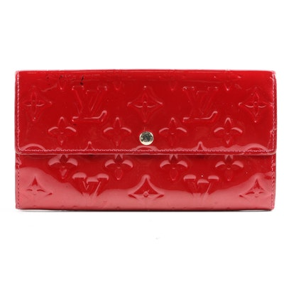 Louis Vuitton Paris Sarah Continental Wallet in Red Monogram Vernis