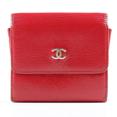 Chanel Red Leather CC Flap Wallet