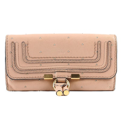 Chloé Marcie Studded Leather Wallet in Blush Nude