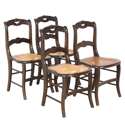 Carved Walnut Chairs with Caned Seats, Set of Four