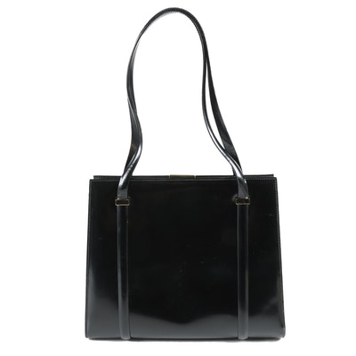 Gucci Black Glazed Leather Dual-Handled Bag