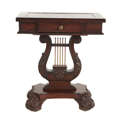Harp Pedestal Side Table with Pull Out Coasters, Late 20th Century