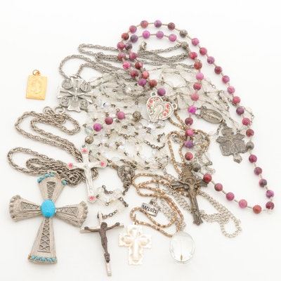 Gold and Silver Tone Glass, Imitation Turquoise, and Magnesite Religious Jewelry