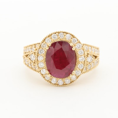 18K Yellow Gold 1.81 CT Ruby and 1.00 CTW Diamond Ring