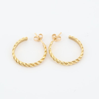 Vintage Cartier 18K Yellow Gold Twisting Hoops, Circa 1980