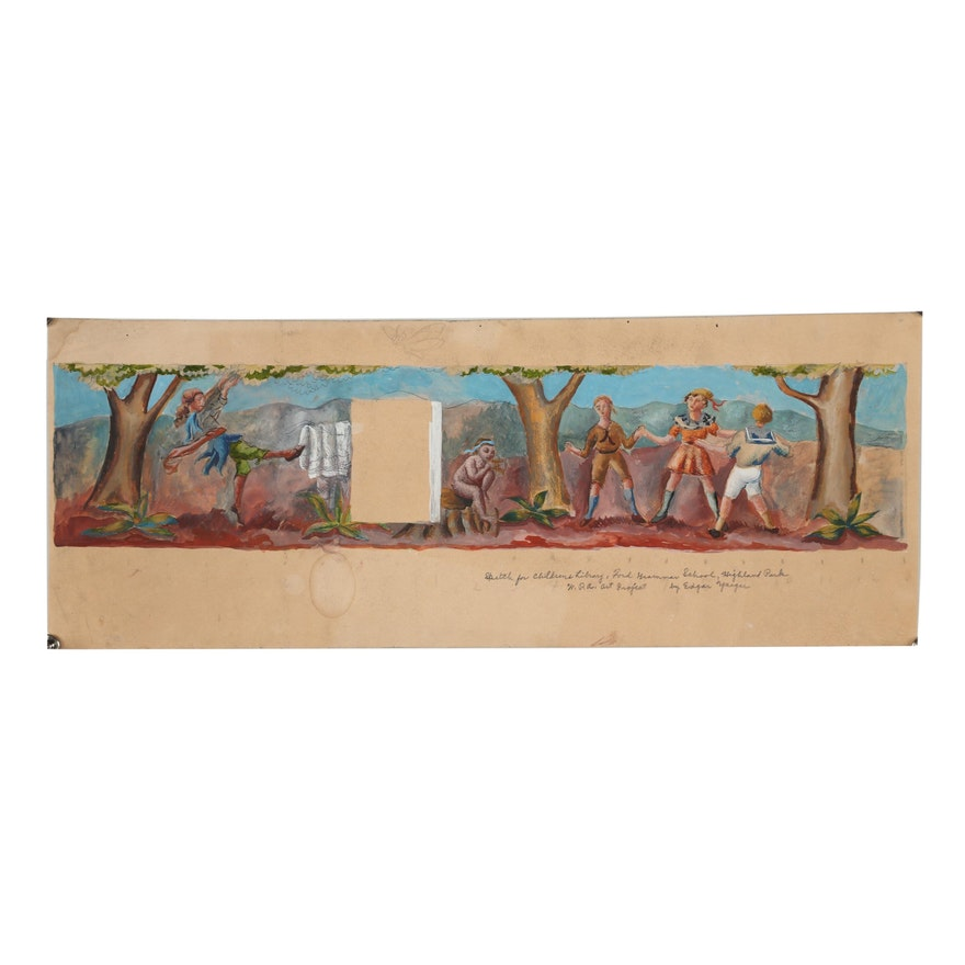 Edgar Yaeger Preliminary Gouache Painting