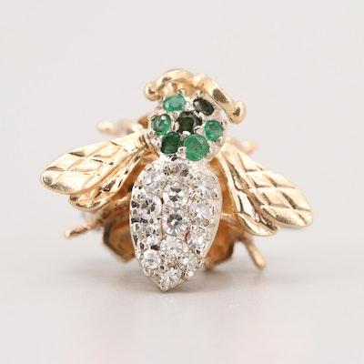 14K Yellow Gold Diamond and Emerald Bee Pin