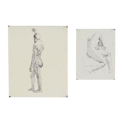 Edmond Fitzgerald Figural Ink Drawing