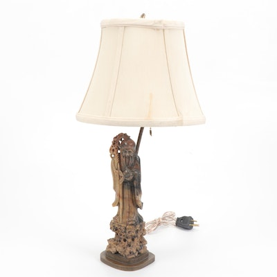 Chinese Carved Soapstone Table Lamp of God of Longevity