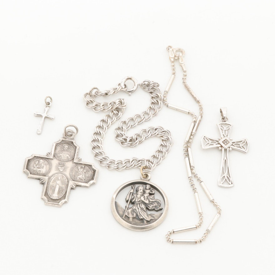 Sterling Silver Religious Themed Pendants and Bracelets