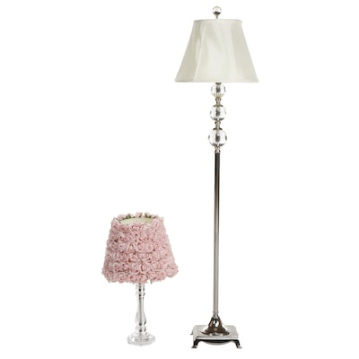 Contemporary Chrome and Glass Floor Lamp with Clear Plastic Table Lamp