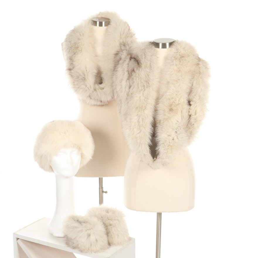 Arctic Fox Fur Hat and Accessories, Vintage