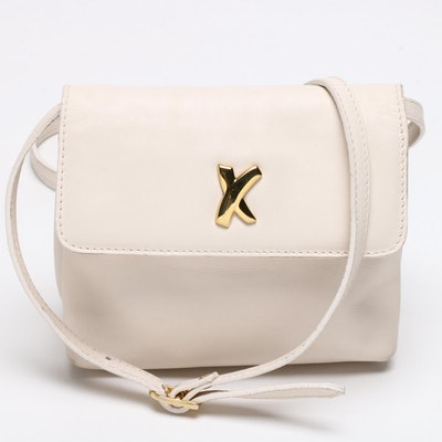Paloma Picasso Off-White Leather Flap Front Crossbody Bag