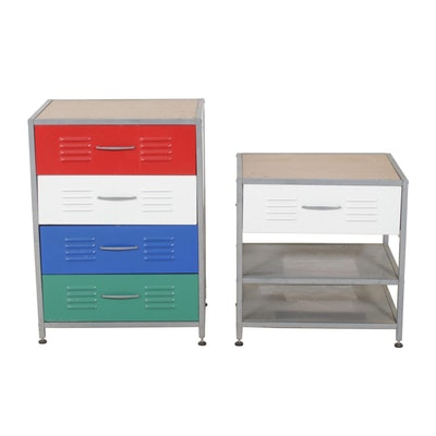 Metal Night Stand and Chest of Drawers
