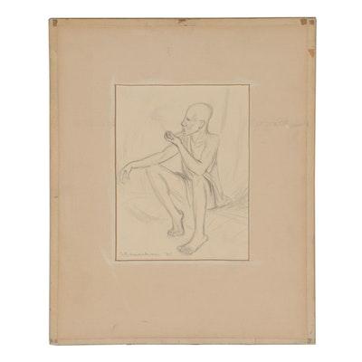 Florence Smithburn 1945 Figural Graphite Drawing
