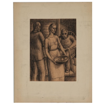 Florence Smithburn 1954 Figural Charcoal Drawing