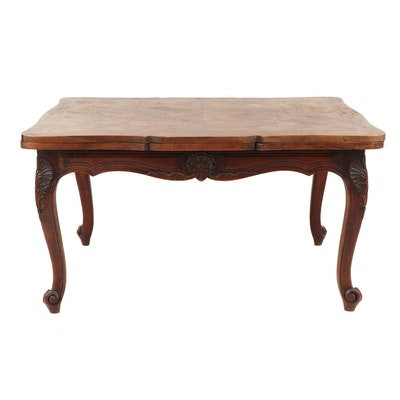 Louis XV Provincial Style Parquet Oak Wood Draw Leaf Table, Mid 20th Century