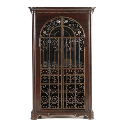 Schnadig Contemporary Illuminated Wood and Wrought Metal Wine Cabinet with Glass