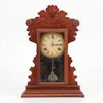 Waterbury Walnut Gingerbread Kitchen Clock, Circa 1885