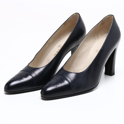 Chanel Navy Blue Leather CC Cap Toe High Heel Pumps