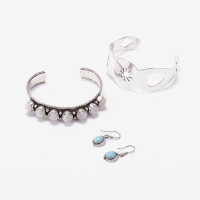 Southwestern Sterling Silver Earrings and Cuffs Featuring Gemstones