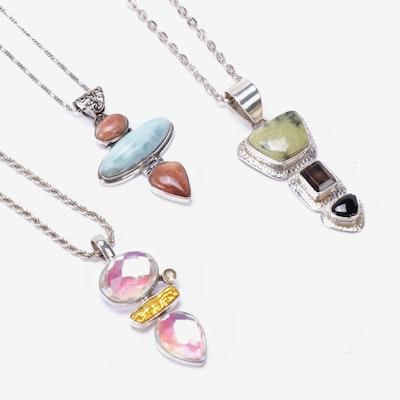 Sterling Silver Gemstone Slide Pendant Necklaces