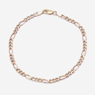 Italian 14K Yellow Gold Figaro Chain Bracelet