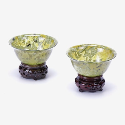 Chinese Agate Bowls with Carved Wood Stands