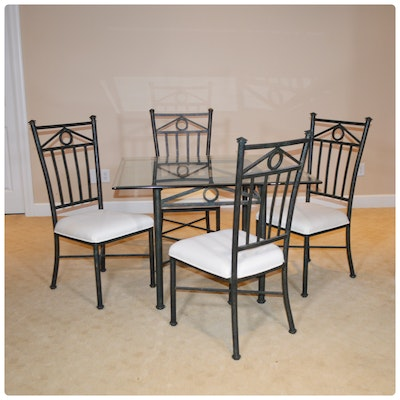 Contemporary Metal and Glass Five-Piece Dining Set
