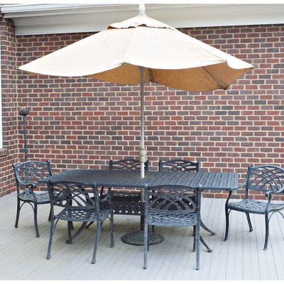 Cast Aluminum Patio Rectangular Dining Table and Umbrella, Contemporary