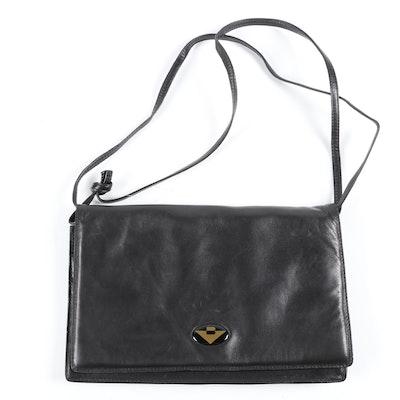 Bottega Veneta Black Leather Front Flap Shoulder Bag, Vintage
