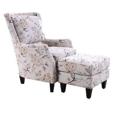 England Inc. Arm Chair and Ottoman, Contemporary