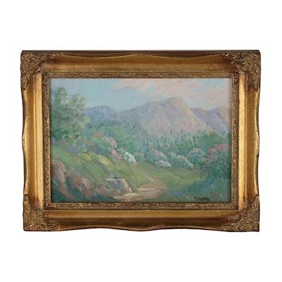 Joseph Baris Oil Painting of Impressionistic Landscape