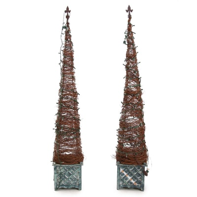 Vine Christmas Trees on Metal Decorative Base with Lights, Contemporary