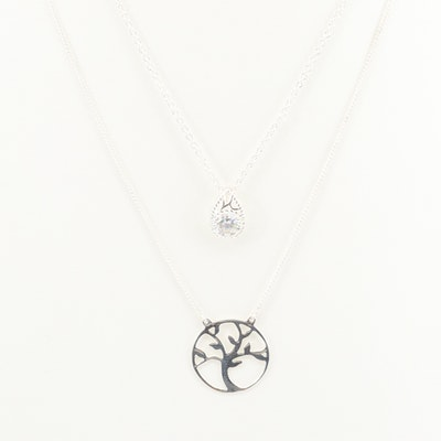 Assorted Sterling Silver Cubic Zirconia Necklaces
