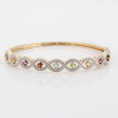 Sterling Silver Multi-Gemstone Bangle Bracelet