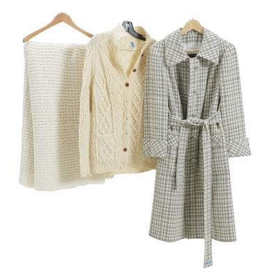 Blarney Woollen Mills of Ireland Wool Sweater and Customique Trench Coat