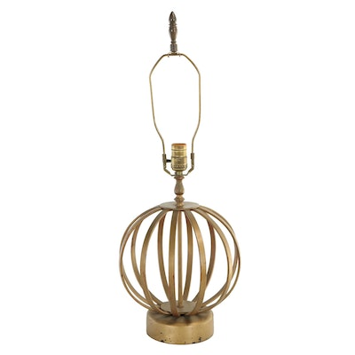 Modernist Gilt-Metal Caged-Orb Table Lamp, Second Half 20th Century
