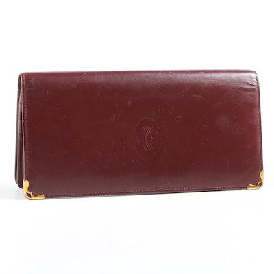 Cartier Paris Bordeaux Leather Wallet, Vintage