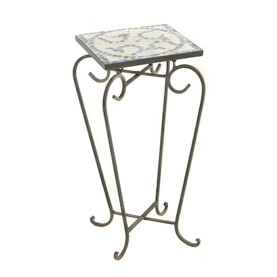 Scrolled Metal and Tile Top Patio Plant Stand, 20th Century