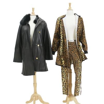 LNR La Nouvelle Renaissance Leather and Fox Fur Coat and Tapemeasure NY Pant Set