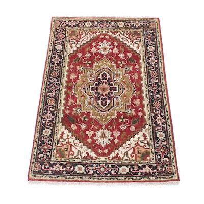 3'10 x 6'1 Hand-Knotted Indo-Persian Heriz Serapi Rug