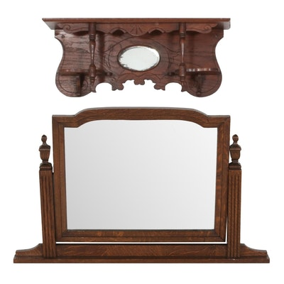 Georgian Style Solid Wood Dresser Swing Mirror and Victorian Wall Shelf