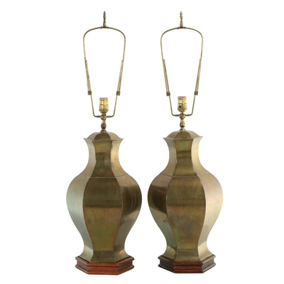 Brass and Wood Urn-Form Table Lamps, Mid 20th Century