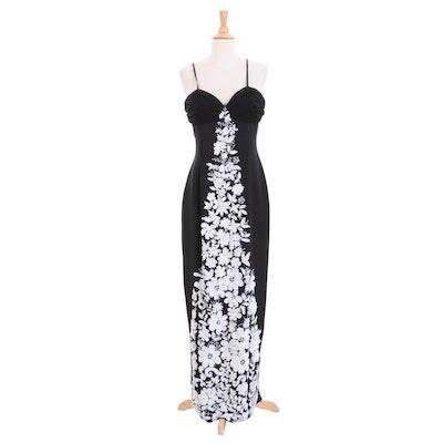Rickie Freeman for Teri Jon Black Silk and White Floral Beaded Evening Dress