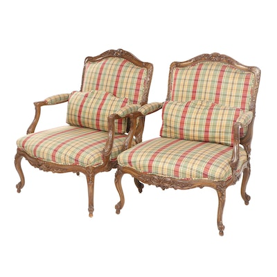 French Provincial Style Tartan Upholstered Oak Armchairs, Late 20th Century