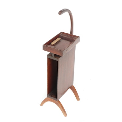 Mahogany Finished Telephone Stand with Handle, Mid-20th Century